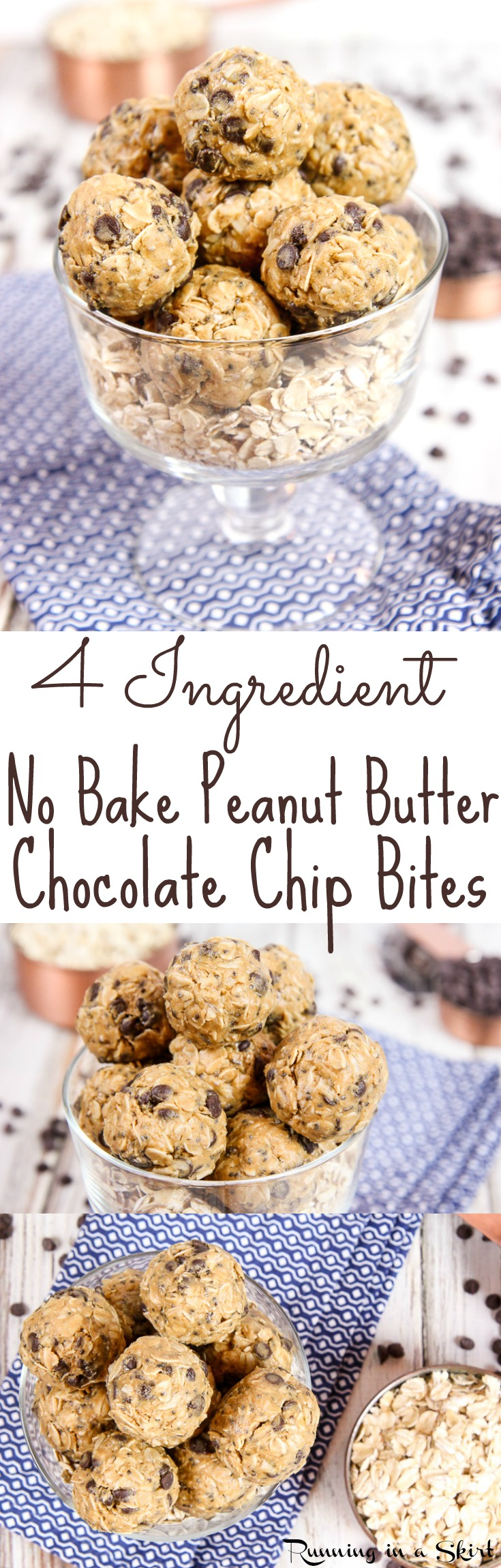 4 Ingredient Healthy No Bake Peanut Butter Bites recipe with Chocolate Chips! Perfect for healthy snacks or a sweet treat without the guilt. With chia seeds! Dairy free, gluten free, vegan friendly, vegetarian and no added sugar. / Running in a Skirt via @juliewunder