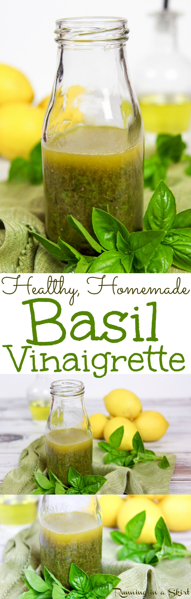 Healthy Fresh Lemon Basil Salad Dressing recipe. Homemade with only 5 ingredients! This simple vinaigrette recipe will be your go-to for salads, lunches, dinners or bowls with veggies like buddha bowls. Uses olive oils and red wines vinegar. Vegetarian, Vegan, Gluten Free/ Running in a Skirt via @juliewunder