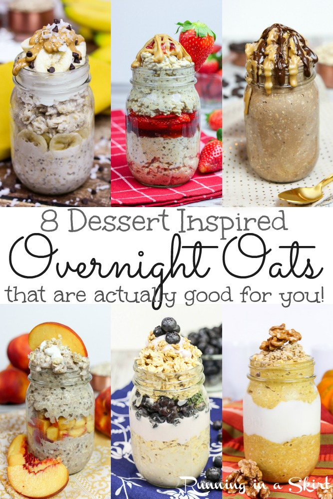 8 Healthy Overnight Oats Recipes in a Jar - healthy, clean eating overnight oatmeal filled with peanut butter, fruit, and with chia seeds. Includes how to make instructions and tips. Flavors like Chunky Monkey Overnight Oats, Peanut Butter Cup Overnight Oats, Apple Pie, Peach Cobbler Overnight Oats, and Blueberry Pie Overnight Oats. / Running in a Skirt #overnightoats #healthy #cleaneating #breakfast #healthyliving via @juliewunder