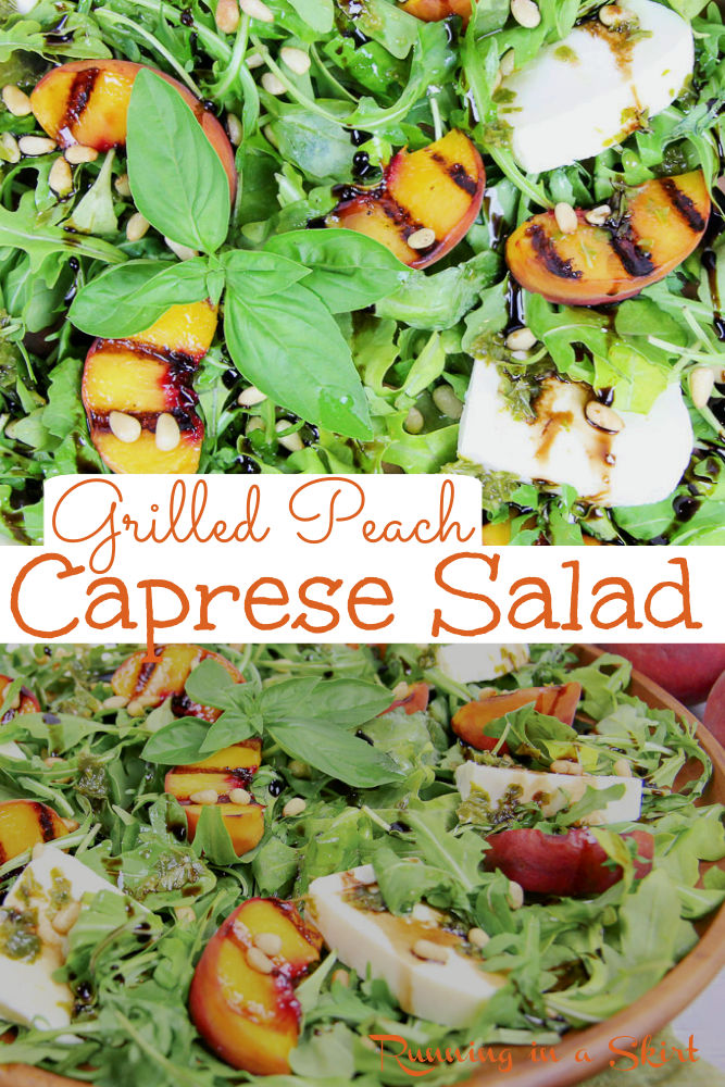Grilled Peach Salad Recipe - The Best Grilled Peach Caprese Salad with grilled peaches, fresh mozzarella, basil, pine nuts, balsamic glaze and with arugula. Looking for healthy summer salad recipes with fruit? This is it! Includes the perfect Peach Salad Dressing. Clean Eating, Vegetarian, Low Calorie, Low Carb / Running in a Skirt #healthy #peachrecipe #peaches #grilling #vegetarian #caprese via @juliewunder