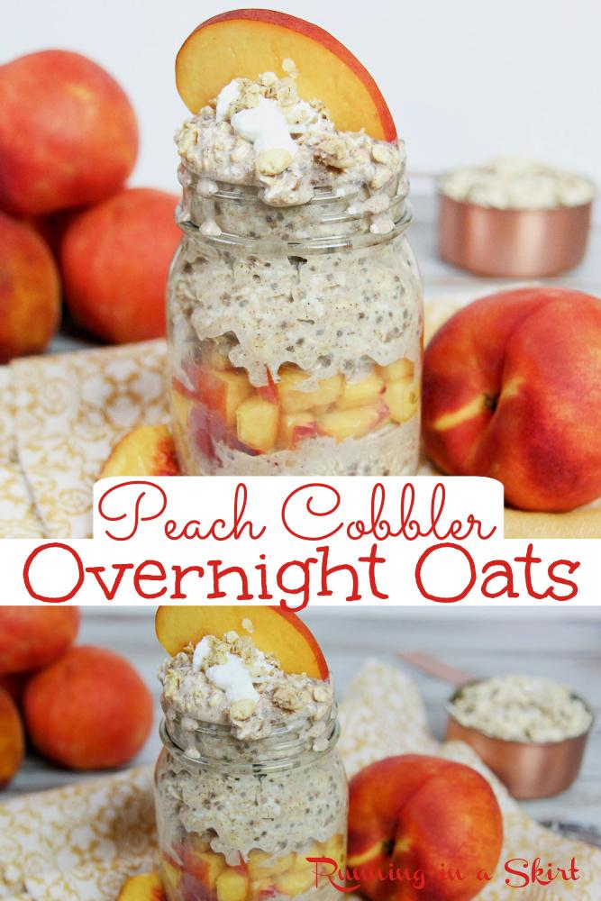 Peach Cobber Overnight Oats pinterest collage via @juliewunder