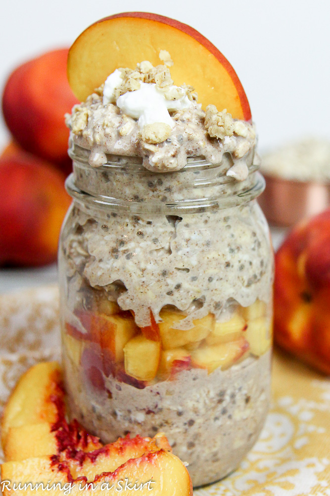Healthy Peach Overnight Oats with peaches in a the background.