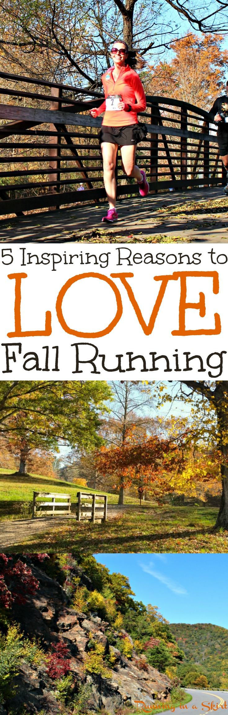 5 Inspiring Reasons to Love Fall Running. Motivation and inspiration for runners to enjoy their best season of running. Whether you're on the trail or road these tips will get you moving. / Running in a Skirt via @juliewunder