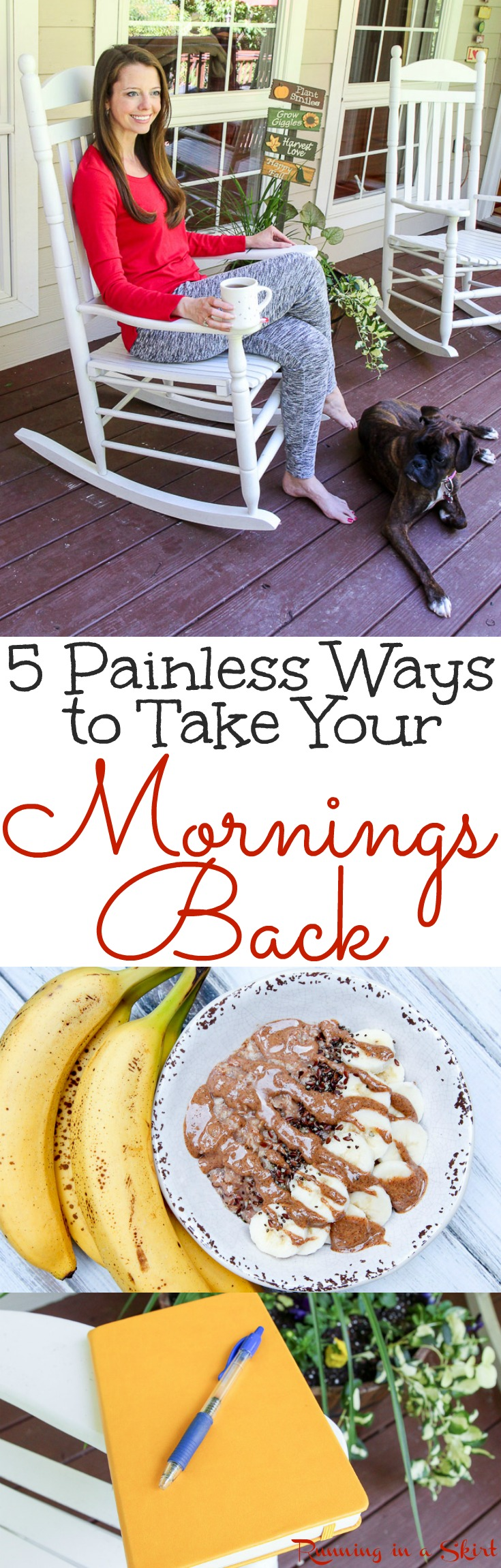 5 Painless Ways to Take Your Mornings Back - a simple healthy morning routine and habits to give you more energy.  Includes breakfast ideas, rituals, meditation, tea, yoga poses and tips to have your best day ever. / Running in a Skirt via @juliewunder