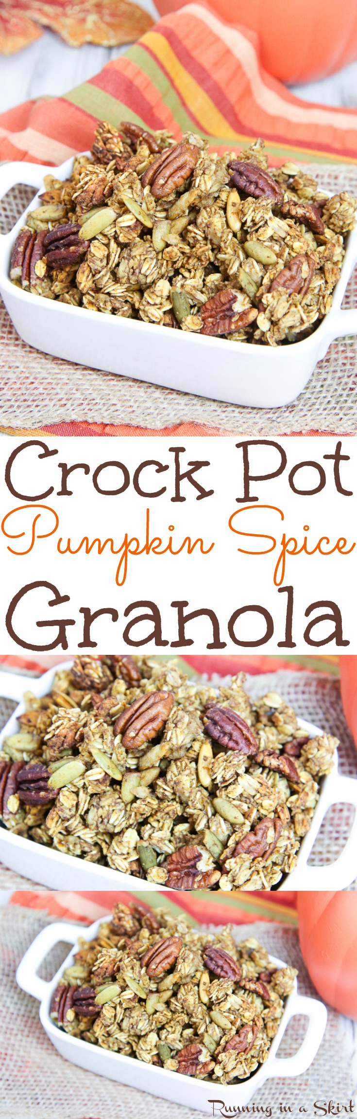 Crock Pot Healthy Pumpkin Spice Granola recipe.  An easy and simple fall breakfast or snack! Filled with pecans, pumpkin seeds and oatmeal.  Made in the crock pot or slow cooker. / Running in a Skirt via @juliewunder