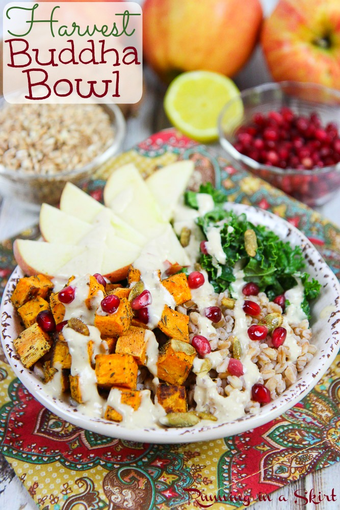 Harvest Buddha Bowl recipe with Lemon Tahini Dressing. An easy & healthy vegan / vegetarian meal for winter or fall. Perfect for lunches or dinners. Filled with sweet potato, kale, pomegranate, farro, apples and topped with tahini sauce. Clean eating, packed with veggies and so delicious. / Running in a Skirt via @juliewunder