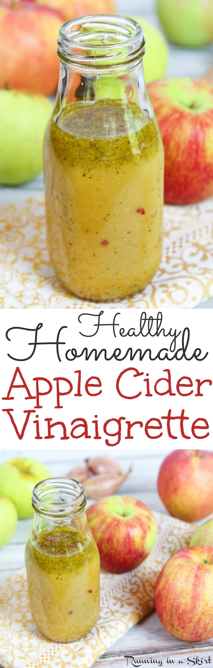 Healthy Apple Cider Vinaigrette Dressing recipe. The perfect homemade salad dressing for fall, winter, Thanksgiving or Christmas. Uses apple cider and apple cider vinegar for a sweet taste! Also has maple syrup, mustard and olive oils. So tasty! / Running in a Skirt @juliewunder via @juliewunder