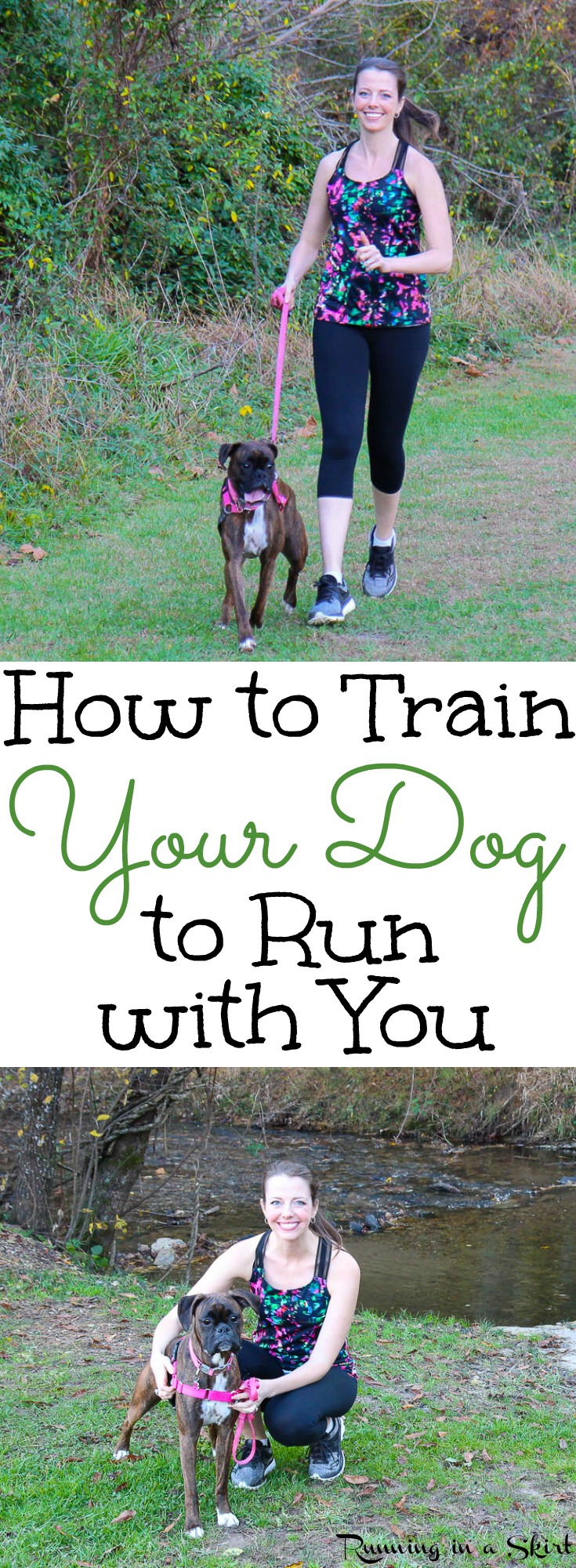 How to Train Your Dog to Run with You including fun and useful tips and training for running with your dog at any age. A great way to get healthy exercise for both  you and your pet!  Includes a how to build mileage plan./ Running in a Skirt via @juliewunder