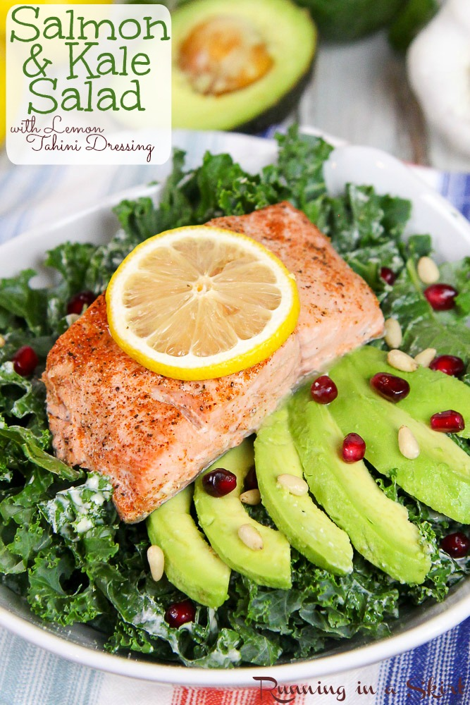 Baked Salmon Kale Salad recipe with Tahini Dressing in a bowl.