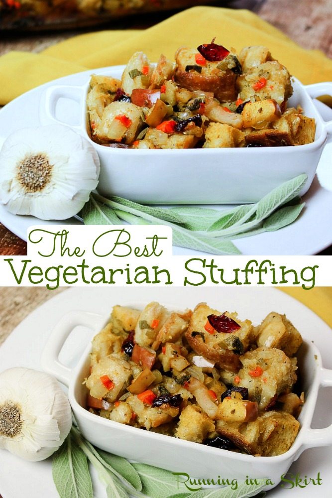 The Best Vegetarian Stuffing recipe for Thanksgiving or Christmas. Homemade Apple & Sage Vegetarian Dressing with bread, onions, carrots, celery, apples, and dried cranberries. An easy meatless holiday recipe that includes an option to make it vegan! This recipe is a tried and true family favorite loved by vegetarians and meat-eaters alike. / Running in a Skirt #thanksgiving #christmas #vegetarianthanksgiving #vegan #healthy via @juliewunder