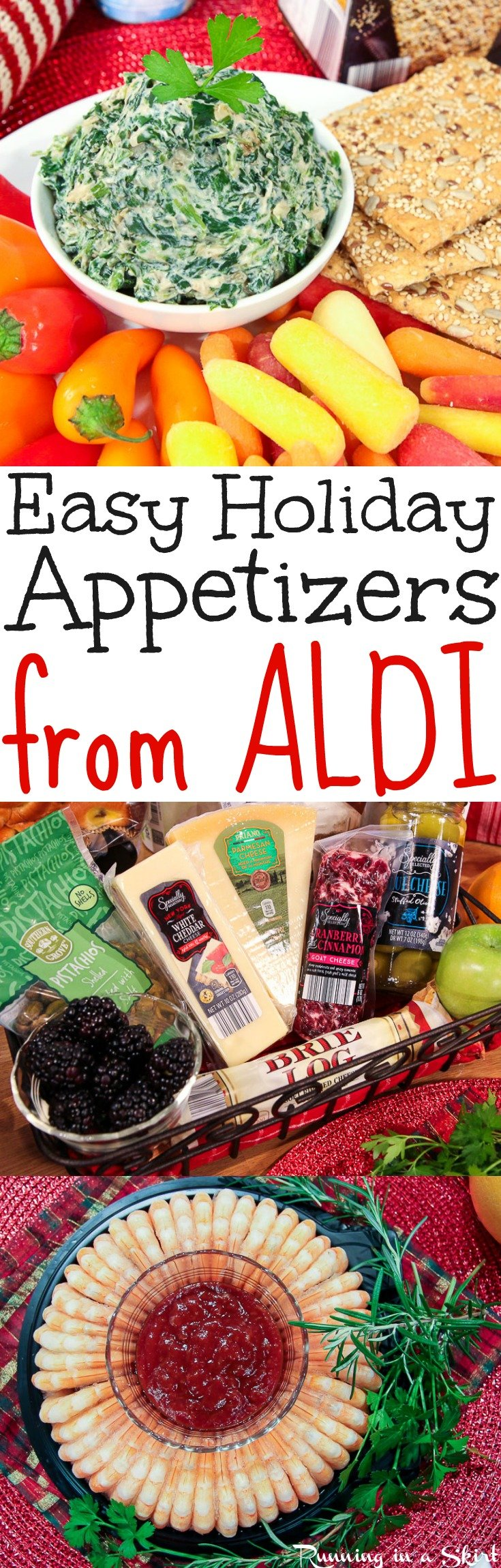 5 Easy Holiday Appetizer Ideas for a party!  Budget friendly, make ahead apps that you can buy at ALDI.  Includes healthy and vegetarian options. / Running in a Skirt #ALDIlove #ad @aldiusa via @juliewunder