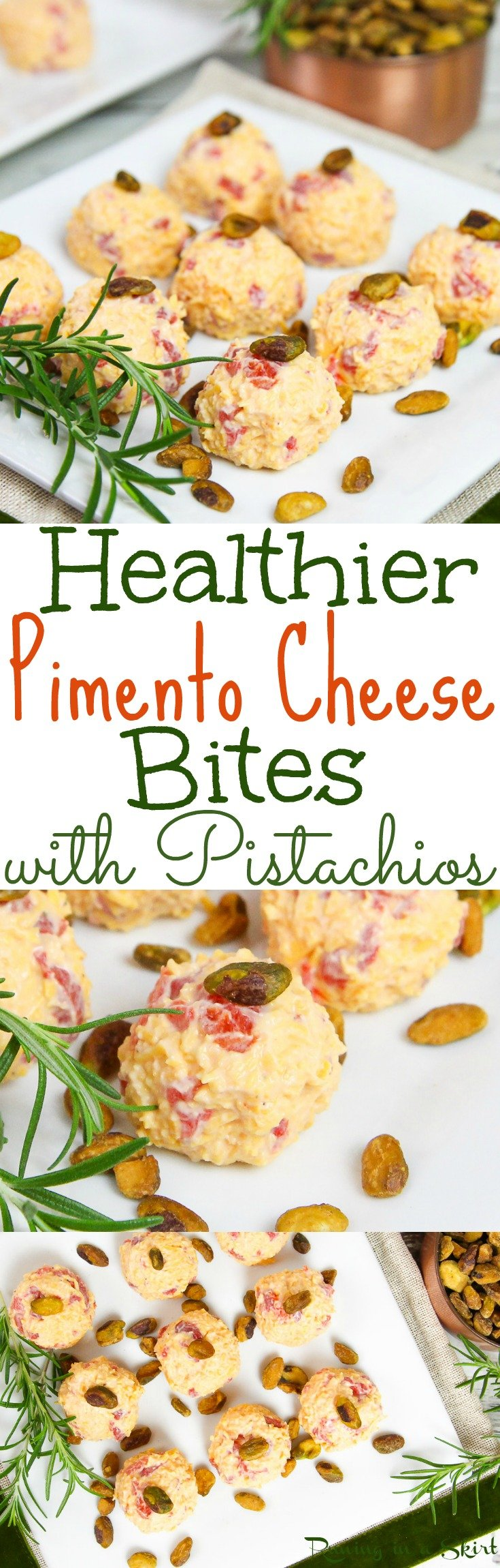 Healthier Pimento Cheese Bites recipe with Pistachios! A fun, easy and healthy Christmas appetizer idea for a party.  Uses greek yogurt instead of mayonnaise. They are like fun individual cheese balls.  Also great for Thanksgiving! Vegetarian & gluten free/ Running in a Skirt via @juliewunder