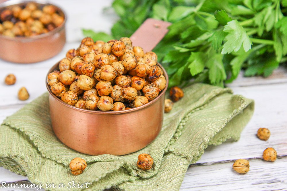 Finished product of Roasted Crispy Ranch Chickpeas recipe on a green napkin.