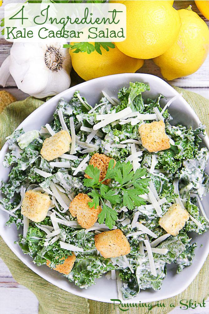 Kale Caesar Salad recipe Pinterest pin.
