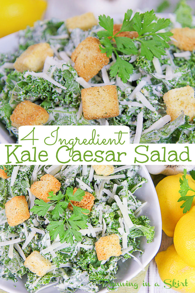 Kale Caesar Salad - Only 4 Ingredients! This easy Kale Salad is topped with croutons, parmesan cheese and a Healthy Greek Yogurt Ceasar Dressing. Made in just 10 minutes. If you are looking for the best kale salad recipes with a creamy dressing... this is it! Great for lunches or side dish. Leave vegetarian or top with shrimp, chicken or fish to complete the meal. / Running in a Skirt #vegetarian #ceasarsalad #kalesalad #kale #salad #healthyrecipes #greekyogurt via @juliewunder