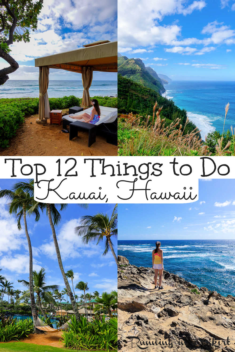Top 12 Kauai Experiences - The BEST Things to Do in Kauai, Hawaii. From hiking, waterfalls, can't miss activities, food, restaurants, the best Luau, farmers markets, beaches, helicopter tour and resorts... these are adventures you must do while on the island. / Running in a Skirt via @juliewunder
