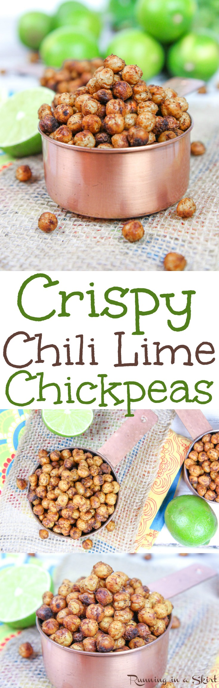 Healthy Chili Lime Crispy Chickpeas recipe - the perfect spicy snack! Oven roasted on a pan with olive oil and spices - includes a trick to actually get them crunchy! Vegan & gluten free / Running in a Skirt via @juliewunder