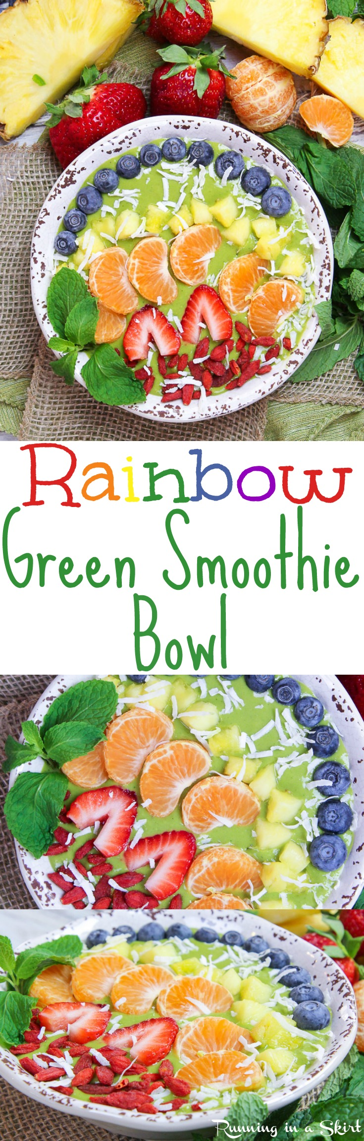 Rainbow Green Smoothie Bowl recipe. This healthy, vegan, easy breakfast uses mango plus spinach or kale! The fruit and berries toppings make the rainbow. Includes frozen banana but there is also a no banana option. Raw Vegan, Vegetarian, Clean Eating, Gluten Free & Dairy Free / Running in a Skirt via @juliewunder