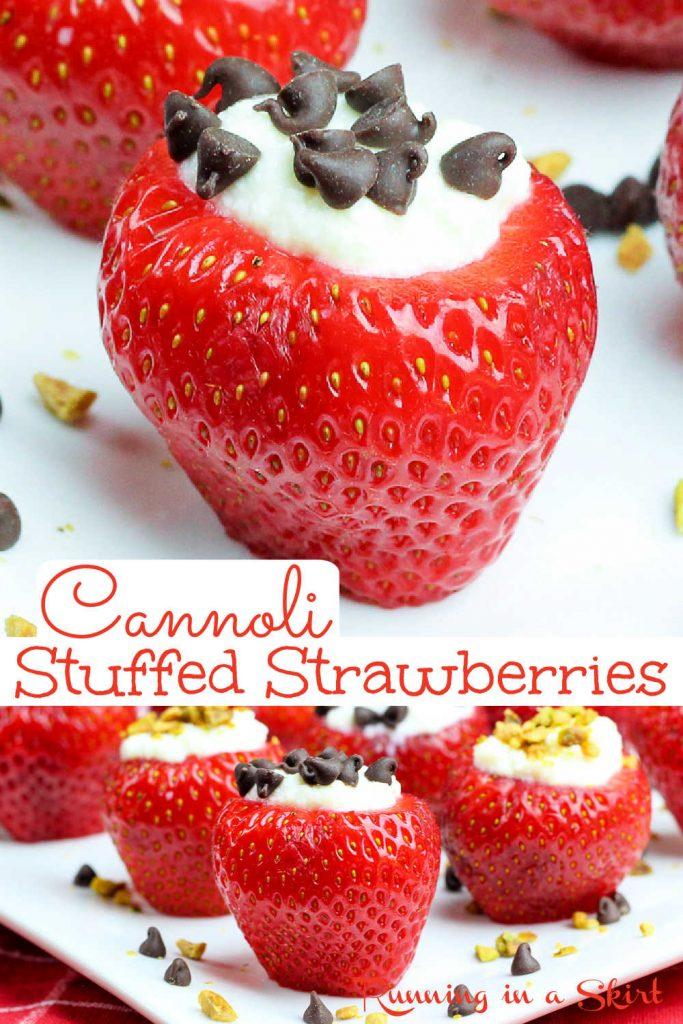 Cannoli Stuffed Strawberries pinterest pin collage.