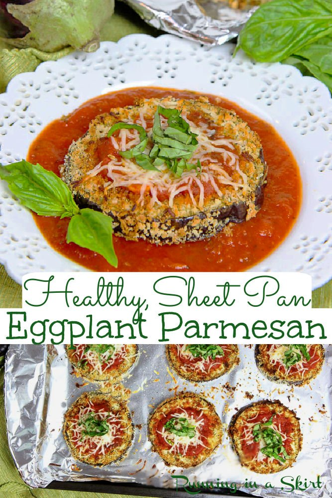 Sheet Pan Eggplant Parmesan – no fry but still crispy! This Eggplant Parmesan Baked Sheet Pan is a simple, easy and healthy vegetarian dinner idea. This Sheet Pan Eggplant Parm is topped with tomato sauce, cheese and basil and is the perfect healthy twist to classic Italian eggplant parmesan. Low Carb with no pasta. Clean Eating / Running in a Skirt #vegetarian #vegetariandinner #lowcarb via @juliewunder
