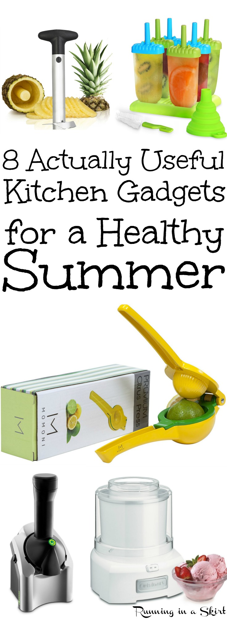 8 Actually Useful Must Have Summer Kitchen Gadgets and Gizmos.  Unique and useful ways to fill your cabinets with the best awesome accessories to help you cook healthy.  Amazing, clever and handy ideas / products for life and cooking.. for Men or for Moms.  Great gifts for cooks!/ Running in a Skirt via @juliewunder