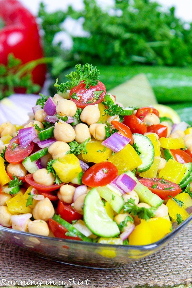 A bowl of rainbow vegan chickpea salad.