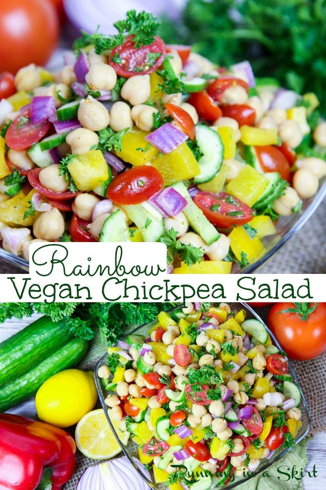 Vegan Chickpea Salad recipe featuring rainbow vegetables and a light mediterranean inspired, no mayo dressing. This healthy salad is simple, easy and delicious. Perfect for summer vegan potluck ideas. / Running in a Skirt #vegan #potluck #recipe #veganpotluck #chickpeas via @juliewunder