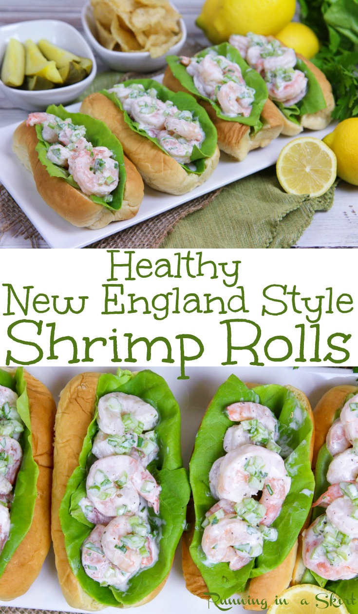 Healthy New England Style Shrimp Rolls recipe - EASY... takes 10 minutes to make! This sandwich is a less expensive twist on a Lobster Roll with greek yogurt and no mayo! Also has Old Bay and Lemon. The best for weekday dinners or meals. / Running in a Skirt via @juliewunder