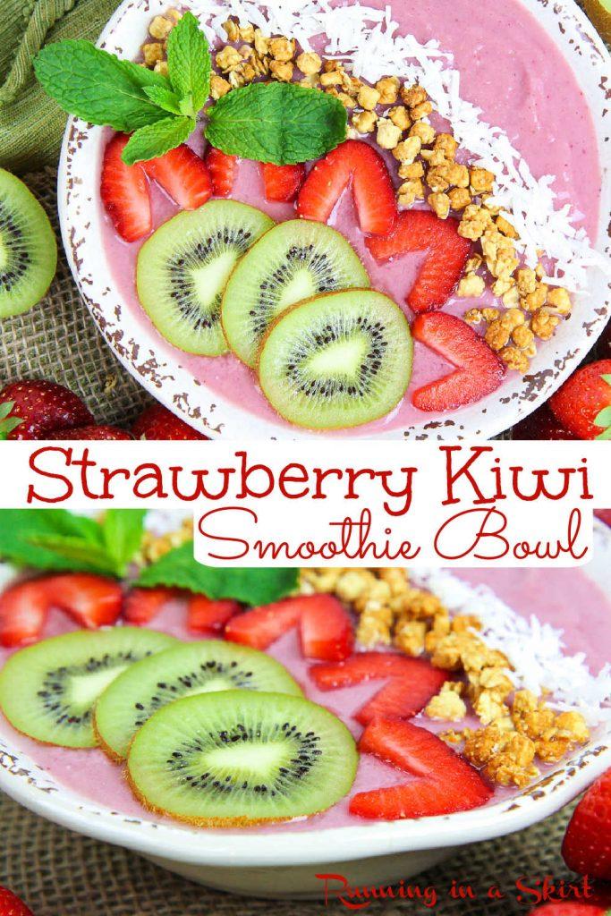 Strawberry Kiwi Smoothie Bowl recipe pinterest collage.