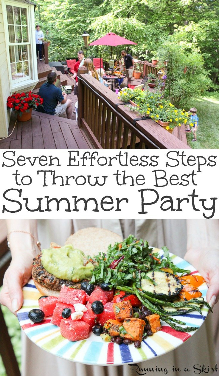 Seven Effortless Summer Party Ideas for the best fun backyard cookout.  These hacks include hosting ideas, food, drinks, recipes and how to keep your yard mosquito free... including a must try control spray for yard.  Get your menu and outdoor activities here! / Running in a Skirt #SummerwithOrkin #AD #mosquito #summer #party #hosting #lifestyle #healthyliving via @juliewunder