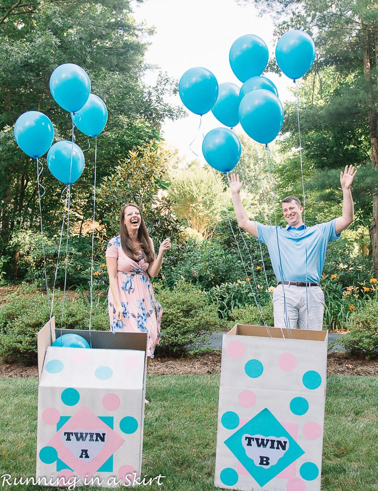 Boxes of blue balloons.