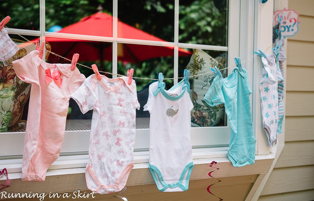 Baby clothes on a string.