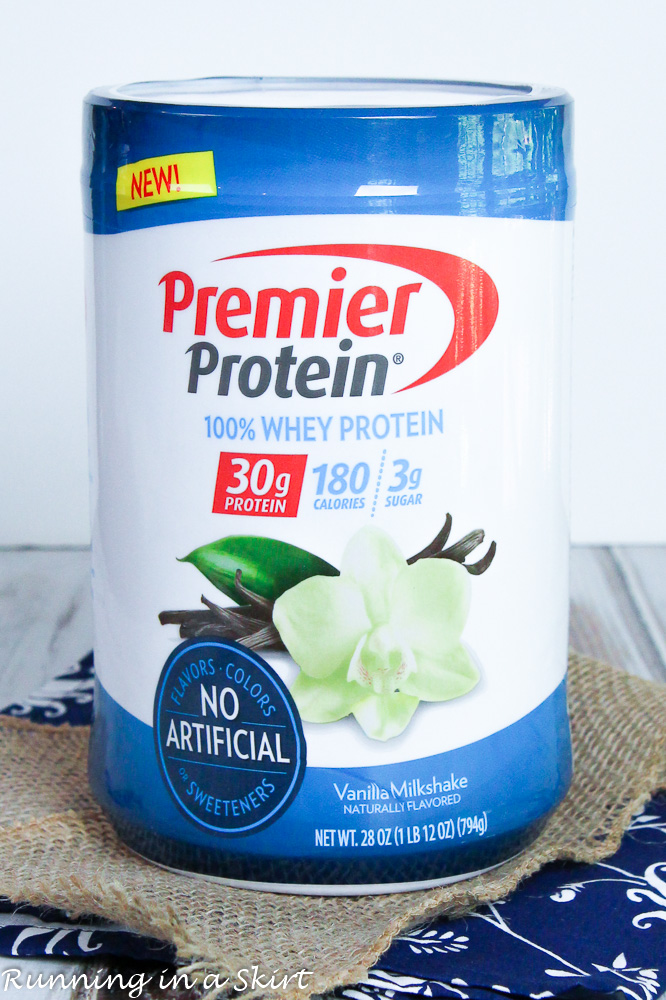 A container of protein powder.