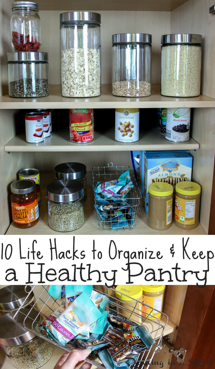 10 Healthy Pantry Organization Life Hacks - how to organize and KEEP your pantry. Includes ideas and a list for essentials and staples to always keep for cooking dinners and for families.  These simple tips will help you with eating clean and keeping your health.  Fabulous pantry makeover!  / Running in a Skirt AD via @juliewunder