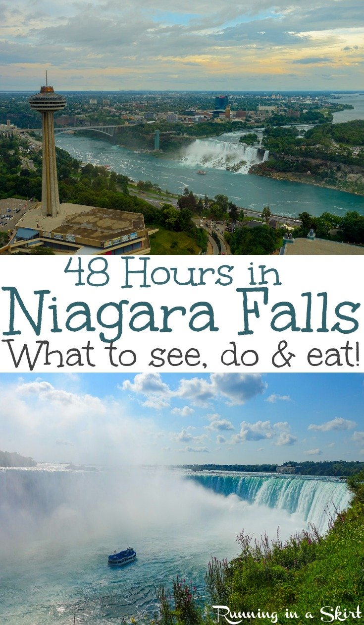 Things to Do in Niagara Falls Canada with 48 Hours - what do see, do & eat!  Tips and itinerary for restaurants, photography, most popular attractions (including the Journey Behind the Falls and the Hornblower / Maid of the Mist boat ride, Whirlpool, and White Water Walk.)  Also includes Niagara-on-the-lake.  This is one of the prettiest natural wonders of the world! / Running in a Skirt #niagarafalls #niagara #waterfalls #travel #adventure via @juliewunder