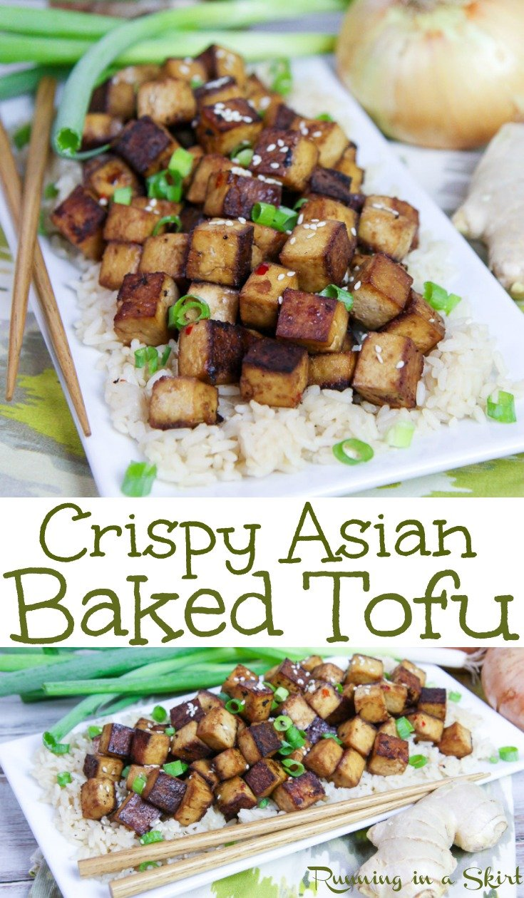 Crispy Oven Baked Asian Tofu recipe - the perfect healthy vegan dinner. This oven baked tofu is easy, simple and tastes amazing. Flavored with soy sauce, ginger, sesame oil and other flavors. Perfect with a stir fry. Gluten free, vegetarian, vegan and low carb. / Running in a Skirt #vegan #vegetarian #cleaneating #tofu #recipe #healthy via @juliewunder