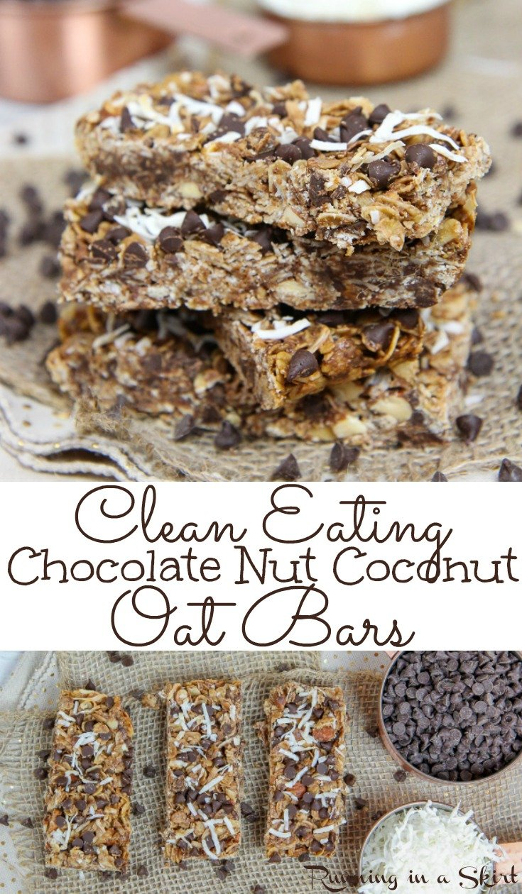 Healthy Clean Eating Chocolate Nut Coconut Oatmeal Bars - Easy, Only 7 Ingredients!  These soft and chewy homemade DIY bars are simple with honey, peanut butter and no sugar.  Perfect for breakfast, dessert or school snacks. / Running in a Skirt #cleaneating #healthy #recipe #oatmeal #bars #snack #dessert via @juliewunder