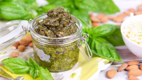 Jar of homemade basil almond pesto.