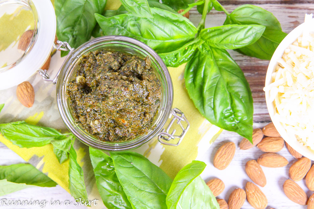 Basil, almonds and cheese.