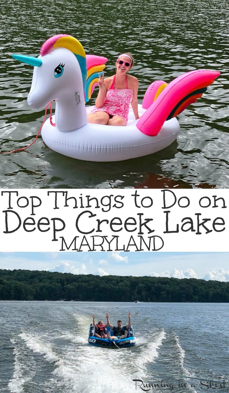 Top 7 Things to Do & Eat in Deep Creek Lake, Maryland - includes ideas for the best fun family summer vacations on this beautiful lake.  Enjoy the water - boating and floating -, visit Swallow Falls State Park with waterfalls, lavender farm, Honi Honi Bar.  Plus the best restaurants in the nearby town of McHenry. / Running in a Skirt #travel #maryland #deepcreek #lake  via @juliewunder