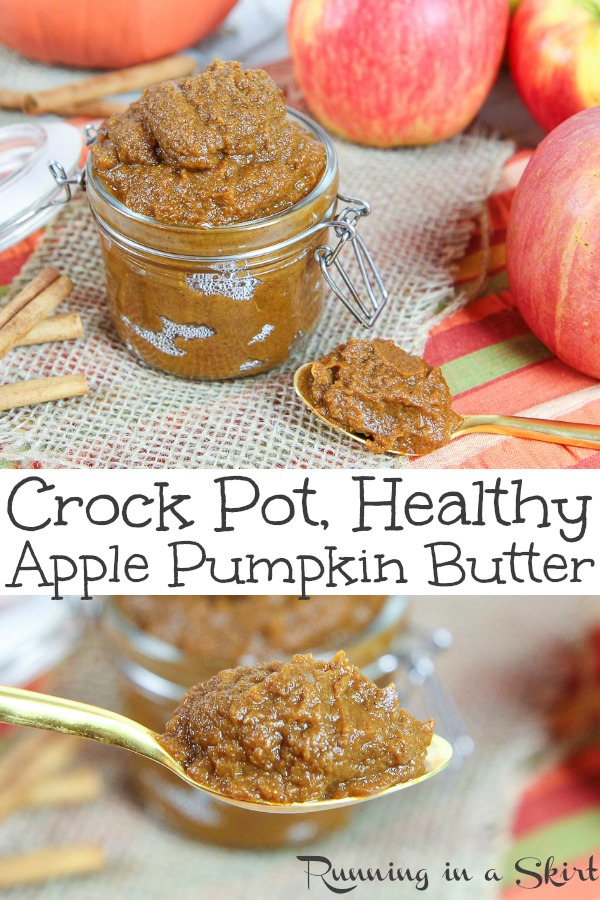 The Best Crockpot Apple Pumpkin Butter recipe - perfect for fall! This simple recipe brings together the best of a slow cooker apple butter and crock pot pumpkin butter together for an easy homemade butter using fresh apples, canned pumpkin and a touch of coconut sugar. Great for edible gifts, Thanksgiving or brunch. Vegan, gluten free and vegetarian. / Running in a Skirt #pumpkin #apple #fallfood #recipe #healthy #crockpot #slowcooker #instantpot #vegan #vegetarian via @juliewunder
