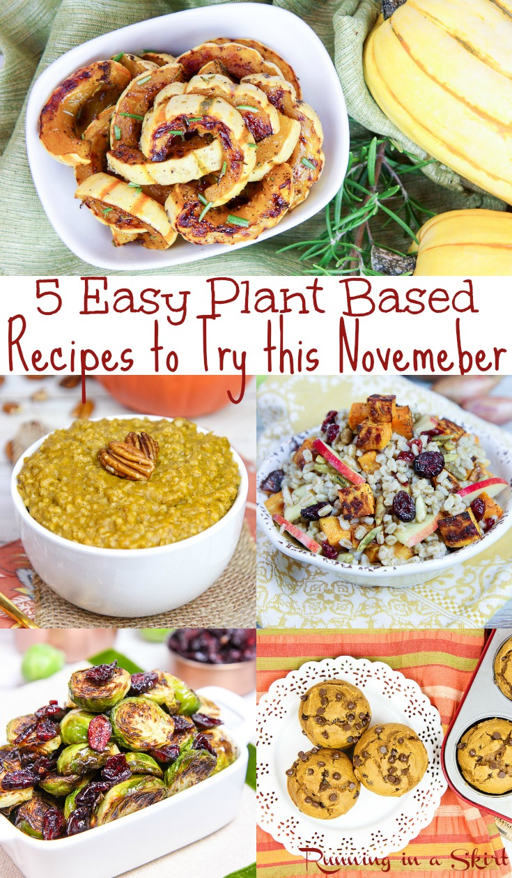 5 Healthy Vegetarian November Recipes - these healthy, easy and simple ideas include dinner, breakfast, dessert and sides including the best vegan and slow cooker / crock pot options!  These clean eating and cozy comfort foods are perfect for the season. / Running in a Skirt via @juliewunder