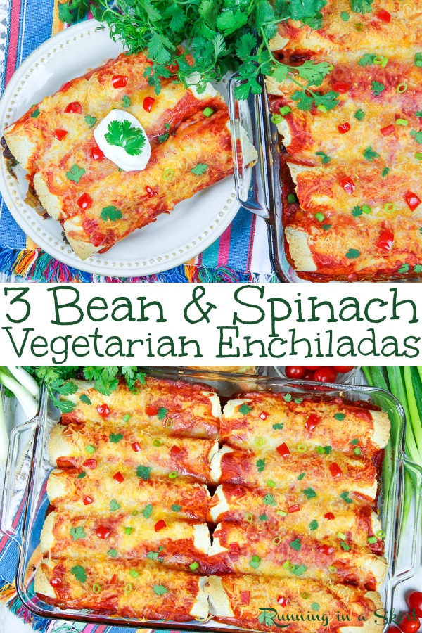 The Best Easy & Healthy Vegetarian Enchiladas recipe- Three Beans and Spinach Vegetarian Enchiladas. This healthy Mexican recipe is packed with veggies and perfect for weeknight meals. Topped with greek yogurt and a small amount cheese. These taste amazing and are freezer friendly! / Running in a Skirt #vegetarian #mexican #recipe #healthy #greekyogurt #healthyliving #spinach via @juliewunder