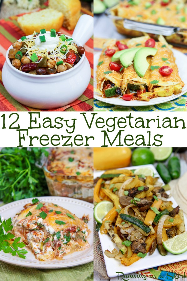 12 Healthy & Easy Vegetarian Freezer Meals- includes crockpot, slow cooker or instant pot options. The best for new Moms and post partum or just a busy time in life. Clean eating, low carb and gluten free options. / Running in a Skirt #vegetarian #mealprep #freezermeals #vegan #glutenfree #lowcarb #cleaneating #crockpot #slowcooker via @juliewunder