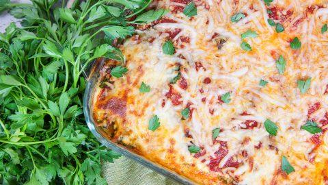 Baked Vegetarian Spaghetti Squash Casserole in a glass pan.