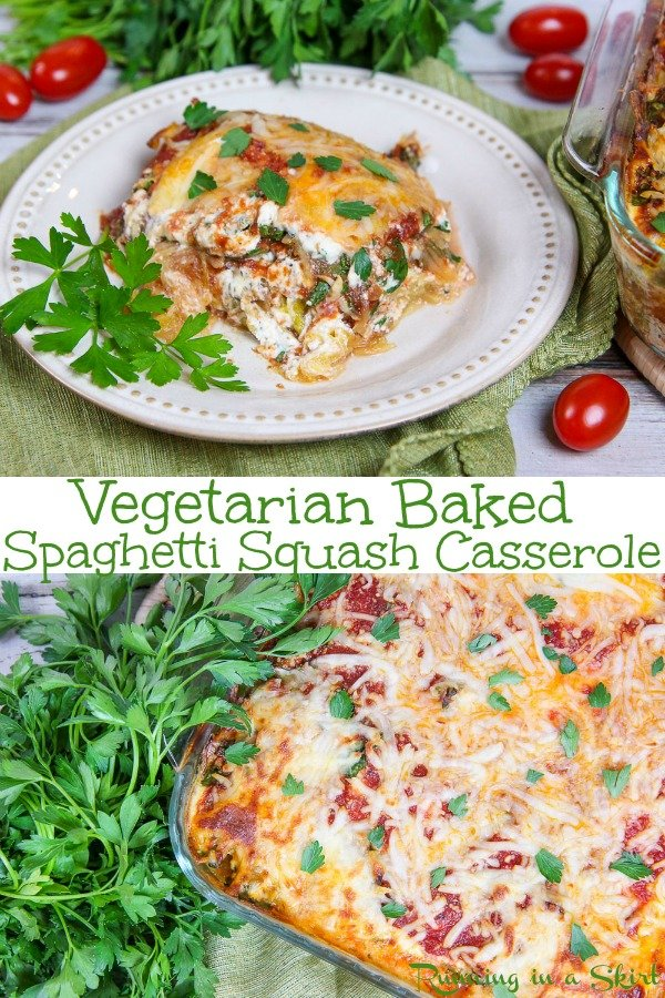 Vegetarian Baked Spaghetti Squash Casserole recipe - the perfect healthy, low carb and gluten free twist on baked pasta or lasagna with NO noodles. Filled with ricotta cheese. marinara sauce and veggies like kale! If you are looking for easy recipes or healthy comfort foods for dinners - this is it! Also a great vegetarian freezer meal. / Running in a Skirt #vegetarian #glutenfree #lowcarb #spaghettisquash #comfortfood #healthy #recipe via @juliewunder