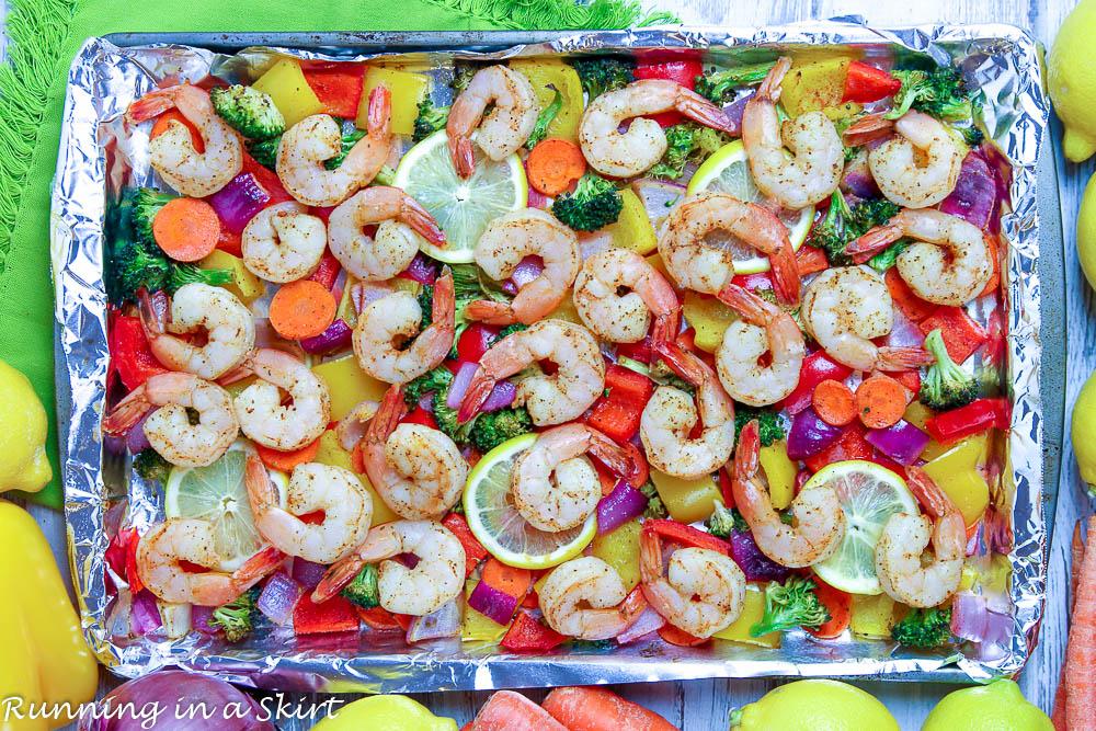Sheet Pan Shrimp and Veggies on a tray.
