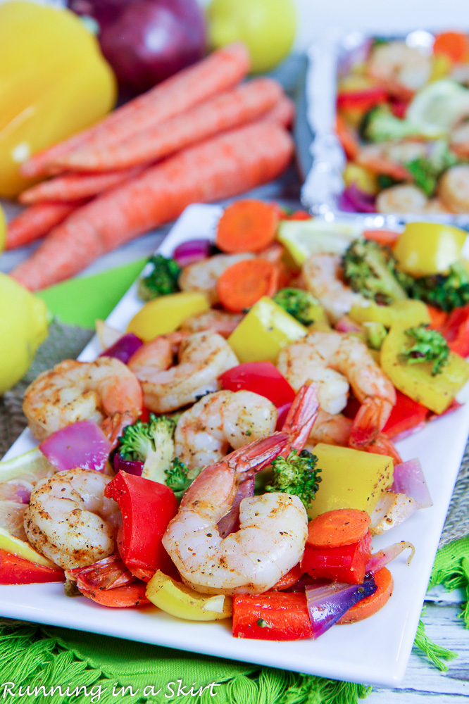 Sheet Pan Shrimp and Vegetables recipe on a white plate.