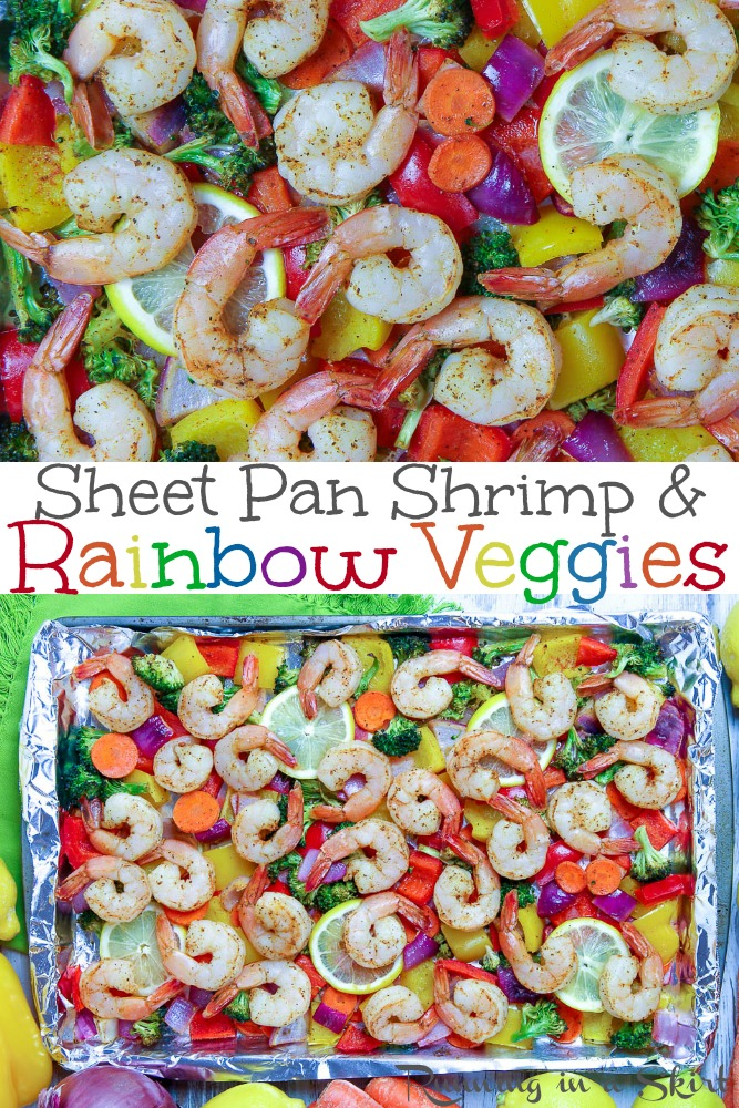 Easy Sheet Pan Shrimp and Veggies dinner recipe - with lemon and old bay! Packed with rainbow veggies like broccoli, carrot, bell pepper and onion. Low carb, Whole 30, gluten free, keto & pescatarian. / Running in a Skirt via @juliewunder