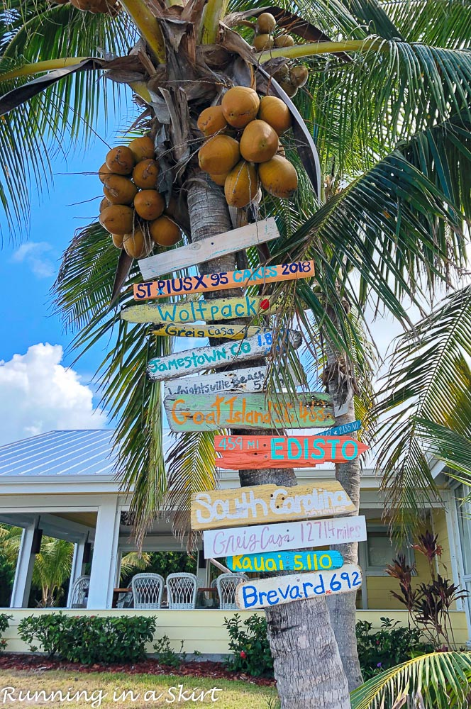 Signs at Firefly Resort on Elbow Cay in Hopetown Bahamas.